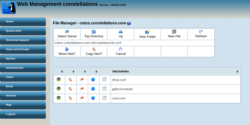 Copying files and folders between servers in the Web File Manager